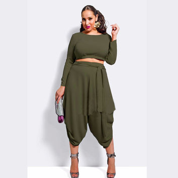Army Green Long Sleeve Cropped Top and Harem Pants