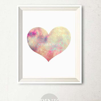 Printable Heart art print, Printable Watercolor Heart Print, Girly wall art Heart wall decor, Heart wall art Love art print, Bedroom decor