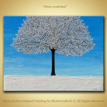 Winter Landscape Original Painting, Winter frozen tree artwork, Modern winter art,  Textured Frozen tree Art, 18x24 Canvas Home wall Decor