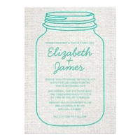 Turquoise Rustic Mason Jar Wedding Invitations