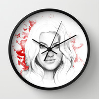Debra Morgan - Dexter Blood Spatters and Butterflies Wall Clock by Olechka
