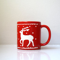 Mid Century Red Reindeer Cup Christmas Tree Coffee Mug Collectible