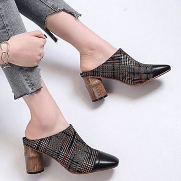 Genuine Leather High Heel Mules Shoes Square Toe Round Heels Pumps Sandals