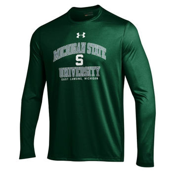 Michigan State Spartans Under Armour School Mascot Performance Long Sleeve T-Shirt – Green