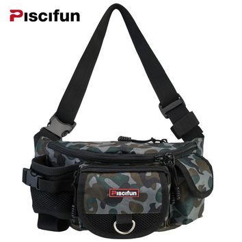 Piscifun Multifunctional Waterproof 3 Layers Fishing Bag Lure Waist Pack Messenger Bag Pole Package Fishing Tackle Bag