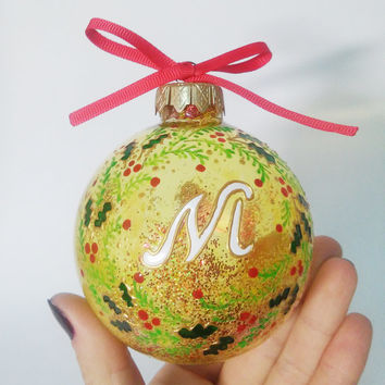 Personalized Christmas Ornament Name Ornament Christmas Handpainted Balls Christmas Gift Baby's 1st Christmas Ornament Christmas Decorations