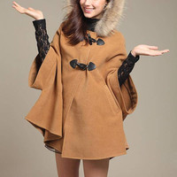 Camel Fur Hooded Cape