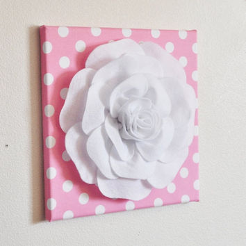 "MOTHERS DAY SALE Nursery Wall Decor -White Rose on Pink with White Polka Dot 12 x12"" Canvas Wall Art- Flower Wall Art"