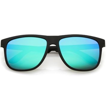 Classic Horn Rimmed Sunglasses With Square Color Mirror Flat Lens 56mm
