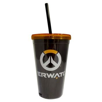 Official, Overwatch, Plastic Tumbler/Travel Mug/Cup with Reusable Straw and Screw on Lid (BPA FREE, Pack of 1)