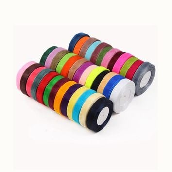 """Organza Ribbon 6/8"""" (20mm) 50Yards/Roll For Decorative Gift Packing Wedding Crafts Christmas Gift Wrap Handmade DIY"""
