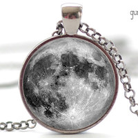 Full Moon Necklace, La Luna Art Pendant, Moon Jewelry, Space Necklace (082)