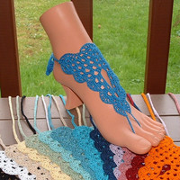 Crochet Barefoot Sandals, Footless Sandals - Pick Your COLOR - Barefoot Sandles