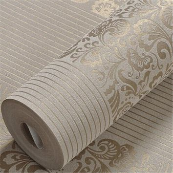 beibehang Home Improvement wall paper modern Fashion Non-woven Flocking Wallpaper Rolls for bedroom background wall 5 Colors R19