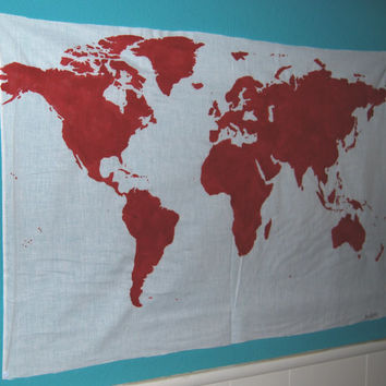 World Map Wall Tapestry in Red