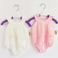 Bowknot Sleeveless White and Pink Lace Baby Girl Onesuit Romper