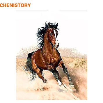 CHENISTORY Running Horse Animal Landscape DIY Painting By Numbers Drawing Painting On Canvas HandPainted Home Decoration Artwork