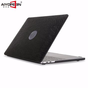 for macbook pro 13 15 touch bar case,aiyopeen pu leather middle-hole can see logo with hard pc bottom cover 2016 release