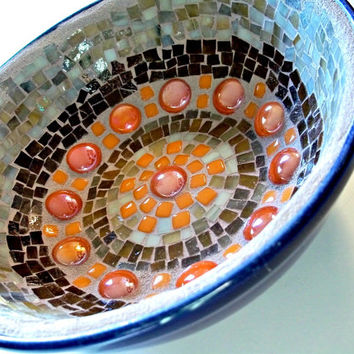 Blue, Orange and Brown Mosaic Bowl