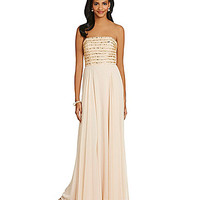 Xscape Strapless Sequin Bodice Gown - Nude/Gold