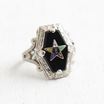 Antique 14K White Gold Black Onyx Order of the Eastern Star Ring - Art Deco Size 4 Filigree Enamel OB Ostby Barton Masonic Fine Jewelry
