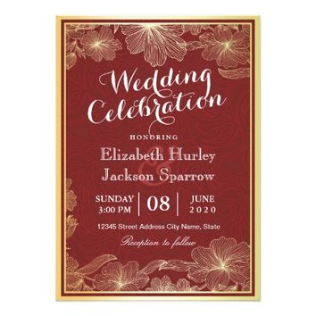 Elegant Red Gold Floral Wedding Shower invitations