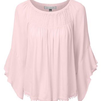 LE3NO Womens Lightweight Flowy Off Shoulder 3/4 Bell Sleeve Blouse Top