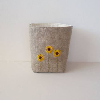 Linen Burlap Basket Sunflowers Hand Embroidered - Rustic Storage Bin - Burlap Bucket - Burlap Home Decor
