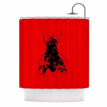 "BarmalisiRTB ""The Fly"" Black Red Shower Curtain"