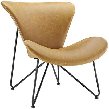 LAVEDA LEATHER LOUNGE CHAIR IN TAN