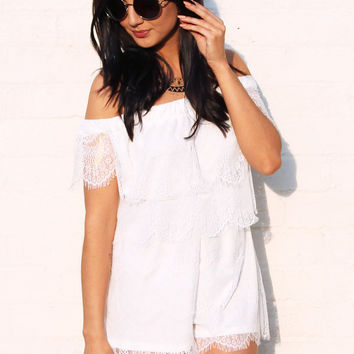 Bardot Overlay Top Lace Playsuit in White