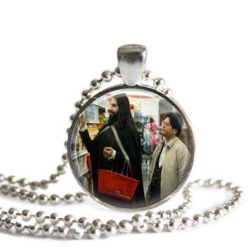 What We Do In The Shadows Nandor and Guillermo 1 Inch Silver Plated Pendant Necklace Handmade