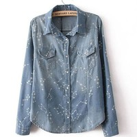 Constellation Print Denim Shirt