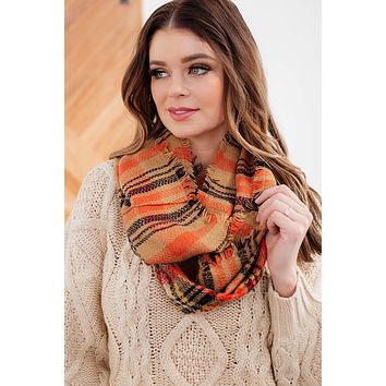 Plaid Infinity Scarf- Orange