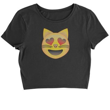 (Color) Emoticon - Heart Eyes Cat Face Smiley Cropped T-Shirt