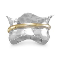 Sterling Silver Two Tone Brass Center Wave Spin Ring