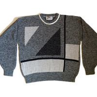 Vintage 80s Graphic Abstract Knit Sweater -Cosby Sweater