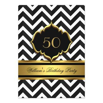Elegant Gold Black White Chevron Birthday Party 5x7 Paper Invitation Card