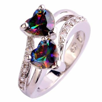 Fashion Lover Jewelry Heart Cut Rainbow & White Gemstone Silver Ring Color double love shaped ring #45