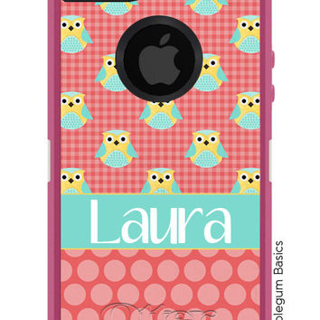 OTTERBOX Defender iPhone 5 5S 5C 4/4S iPod Touch 5G Case Polka Dot Owl Coral Aqua Any color Name Initials Personalized Monogram