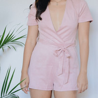Kyria Suede Romper (Dusty Blush)