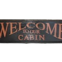Welcome to our Cabin - Framed Country Rustic Wall Sign - 23-in