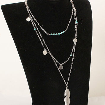 Multi Layer Feather Pendant Necklace