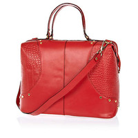 Red leather croc panel doctors bag