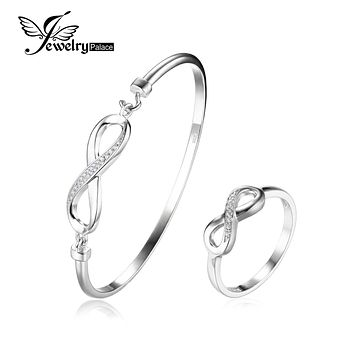 JewelryPalace Infinity Forever Love Anniversary Promise Ring Bangle Bracelet 925 Sterling Silver Fine Jewelry
