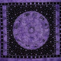Astrology ZODIAC Sign Purple HIPPIE India Indian Wall Hanging TAPESTRY Bedspread