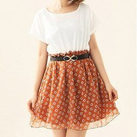 Exclusive Romantic Splicing Flowers Pattern Dress Orange-Wholesale Women Fashion From Icanfashion.com