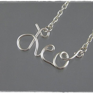 FREE SHIPPING!!!  Leo Astrology Sign Wire Word Pendant Necklace