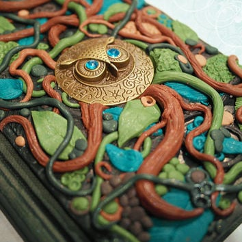 Polymer clay journal / owl diary / nature / garden / notebook / sketchbook / mixed media / owl notebook / bird / green / brown