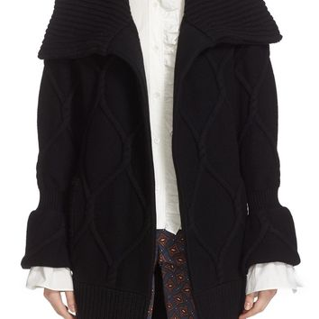 Burberry Trellis Cable Knit Wool & Cashmere Cardigan   Nordstrom